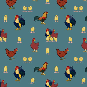 Chickens on Teal