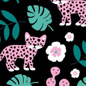 Sweet little wild cat tiger jungle botanical monstera palm leaves and flowers summer black green pink girls JUMBO