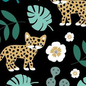 Sweet little wild cat tiger jungle botanical monstera palm leaves and flowers summer black green ochre boys JUMBO
