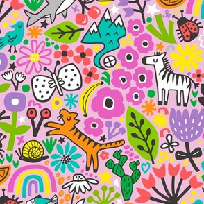 Floral Flowers & Animals Doodle on Pink