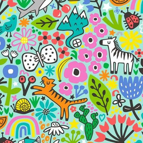 Floral Flowers & Animals Doodle on Mint Green