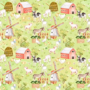 "12"" Nursery Farm Animals on green"