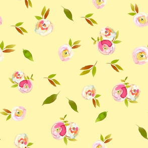 """10"""" Spring Colors Hand drawn roses and flowers on yellow"""