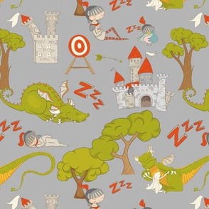 """7"""" Brave knight and dragon in fairyland on gray"""
