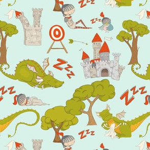 """7"""" Brave knight and dragon in fairyland on teal"""