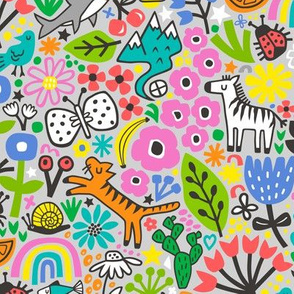 Floral Flowers & Animals Doodle on Light Grey