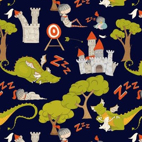 """7"""" Brave knight and dragon in fairyland on blue"""