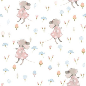 "10"" Cute baby mouse girl and flowers, mouse fabric, mouse nursery on flower meadow"