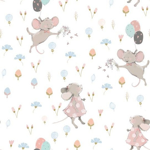 """10"""" Cute baby mouse girl and flowers, mouse fabric, mouse nursery on flower meadow"""