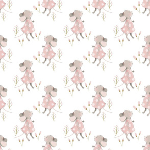 """6"""" Cute baby mouse girl and flowers, mouse fabric, mouse nursery on flower meadow"""