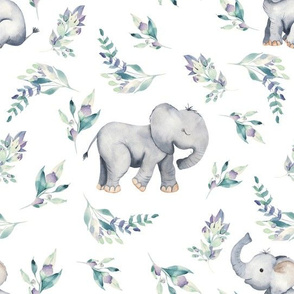"10"" Cute baby elephants and flowers, elephant fabric, elephant nursery"