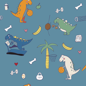 funny dinosaurs with sport activity