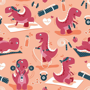 Fitness exercises for a dino // normal scale // coral background red t-rex dinosaurs