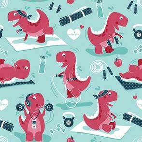 Fitness exercises for a dino // small scale // aqua background red t-rex dinosaurs