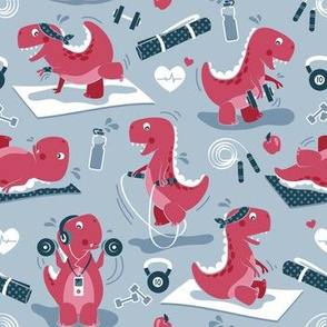 Fitness exercises for a dino // small scale // pale blue background red t-rex dinosaurs