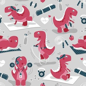 Fitness exercises for a dino // small scale // grey background red t-rex dinosaurs