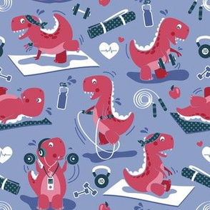 Fitness exercises for a dino // small scale // indigo blue background red t-rex dinosaurs