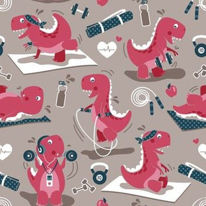 Fitness exercises for a dino // small scale // brown background red t-rex dinosaurs