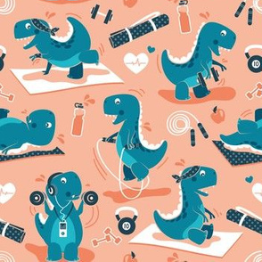 Fitness exercises for a dino // small scale // coral background teal t-rex dinosaurs