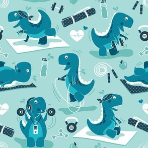 Fitness exercises for a dino // small scale // aqua background teal t-rex dinosaurs