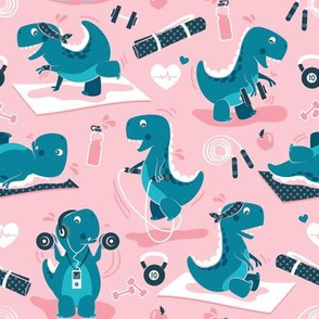 Fitness exercises for a dino // small scale // pink background teal t-rex dinosaurs