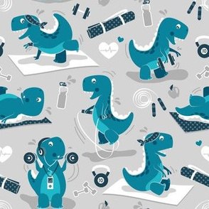Fitness exercises for a dino // small scale // grey background teal t-rex dinosaurs