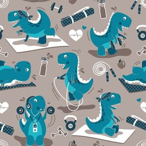Fitness exercises for a dino // small scale // brown background teal t-rex dinosaurs