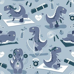 Fitness exercises for a dino // small scale // pale blue background blue t-rex dinosaurs