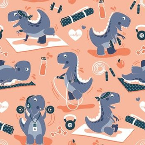 Fitness exercises for a dino // small scale // coral background blue t-rex dinosaurs