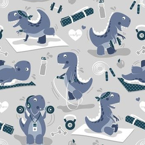 Fitness exercises for a dino // small scale // grey background blue t-rex dinosaurs