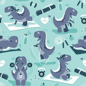Fitness exercises for a dino // small scale // aqua background blue t-rex dinosaurs