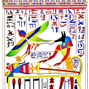 Anubis God ancient egypt egyptian king pharaoh gold mummy death masks tomb mummification Embalmer Ba bird harpy harpies Osiris hieroglyphics jackal tombs graves dead corpse afterlife souls tribal red green yellow blue