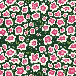 Green and pink abstract floral