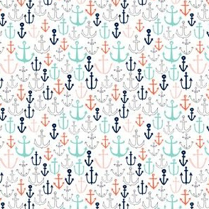 TINY - anchors // nautical anchor navy mint red sailing fabric andrea lauren