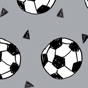 LARGE - soccer fabric // grey soccer football fabric boys sports design