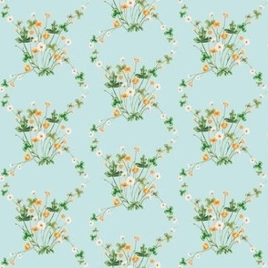 Meadow Floral Green Gold Blue