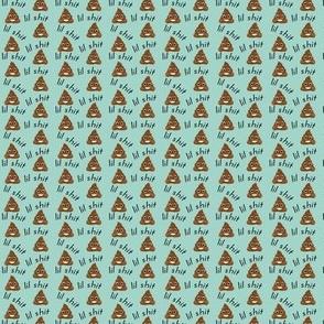 TINY - lil sh*t - poop, emoji, poop emoji fabric, sweary fabric - mint