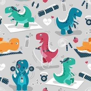 Fitness exercises for a dino // small scale // grey background red teal green and orange t-rex dinosaurs