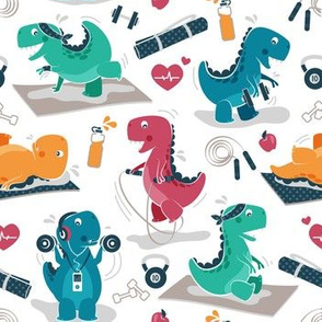 Fitness exercises for a dino // small scale // white background red teal green and orange t-rex dinosaurs