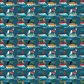 TINY - surfing dog greyhound fabric - surfing dog, surfing fabric, dog fabric, greyhound fabric, greyhounds fabric, hawaiian shirt fabric, cute hawaii shirt dogs - dark blue