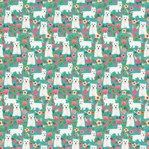 TINY _ westie florals fabric cute dog design west highland terrier dog fabric cute westies floral fabric