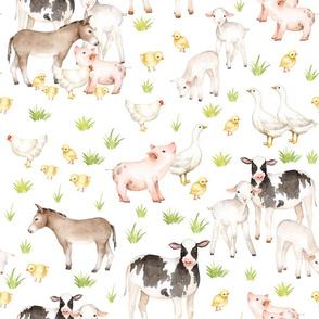 """18"""" Nursery Farm Animals on white"""