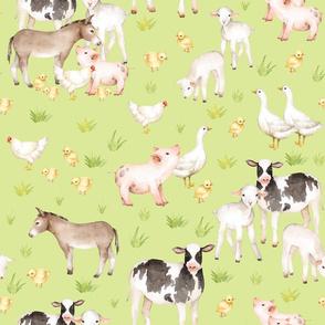 "18"" Nursery Farm Animals on green"