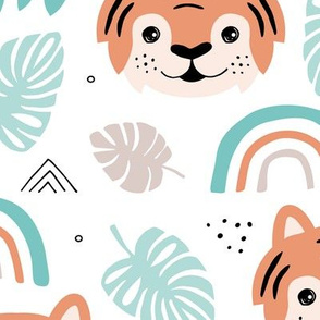 Little tiger cub with botanical leaves and rainbow jungle kids summer design mint orange boys JUMBO