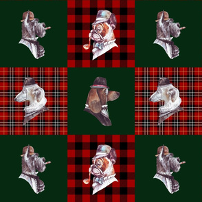 """12"""" English Gentlemen Dog- Dogs with Hats and Glasses Animals Patchwork - baby girls quilt cheater quilt fabric - winter animals pet fabric, baby fabric, cheater quilt fabric"""