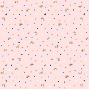 confetti rainbows on pink tiny extra small