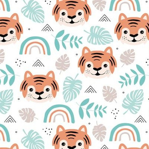 Little tiger cub with botanical leaves and rainbow jungle kids summer design mint orange boys