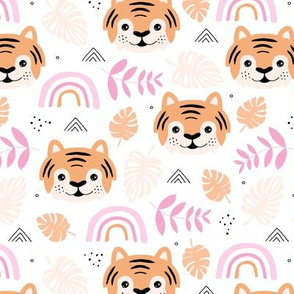 Little tiger cub with botanical leaves and rainbow jungle kids summer design pink peach girls