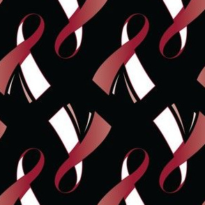 Head and Neck Cancer Ribbon, Head and Neck Cancer Awareness Ribbon on Black, White and Burgundy Cancer Ribbon
