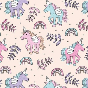 Unicorns and rainbow dreams sky and summer palm leaves pink mint lilac girls